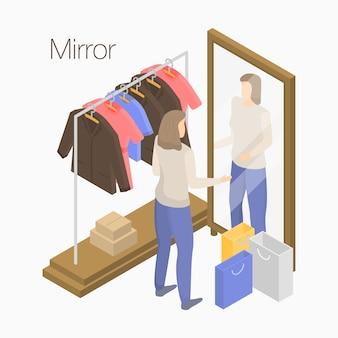 Banner de conceito de espelho, estilo isométrico