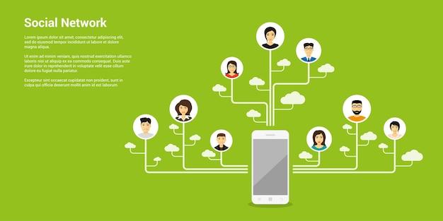Banner de conceito de estilo, rede social, comunicação pela internet
