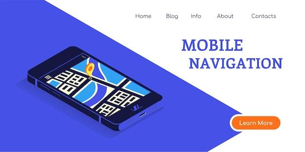 Banner de conceito de estilo simples para navegação móvel. smartphone em vista isométrica com mapa e ponteiro na tela. ilustração do estilo simples.