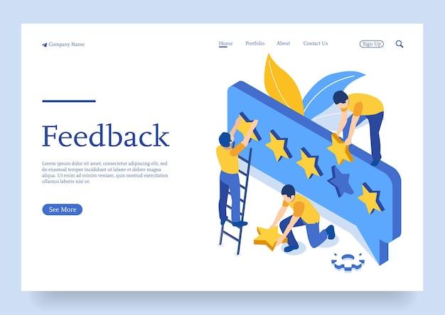 Banner de conceito de feedback ou avaliação com conceito isométrico de caracteres