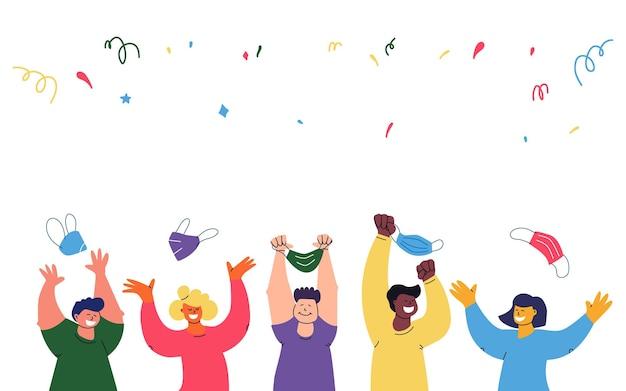 Banner de conceito de fim de pandemia um grupo multiétnico de pessoas joga fora as máscaras de proteção. bloqueio