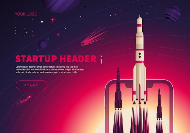 Banner de conceito de inicialização do espaço com lançamento de foguetes
