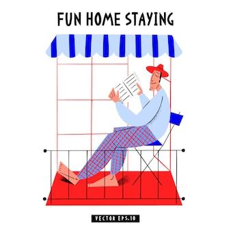 Banner de conceito de isolamento pandêmico com quarentena. ilustração. surto de coronavírus. plano de fundo 2019-ncov. ficar em casa. casa divertida