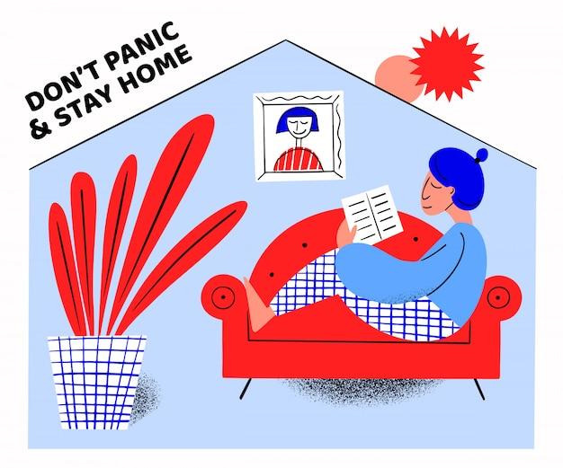Banner de conceito de isolamento pandêmico com quarentena. ilustração. surto de coronavírus. plano de fundo 2019-ncov. ficar em casa