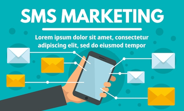 Banner de conceito de marketing on-line sms