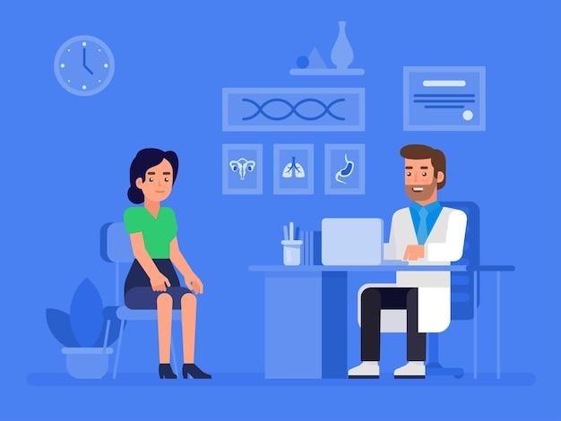 Banner de conceito de médico e paciente com personagens. consulta ao paciente.