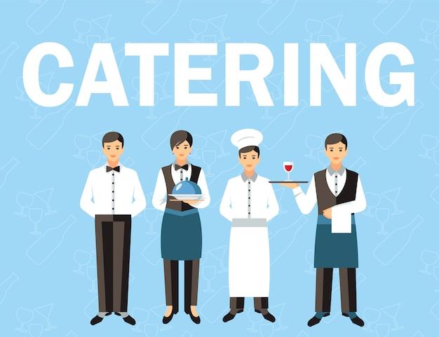Banner de conceito de palavra de pessoal de serviço de catering