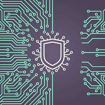 Banner de conceito de sistema de proteção de dados de rede de escudo