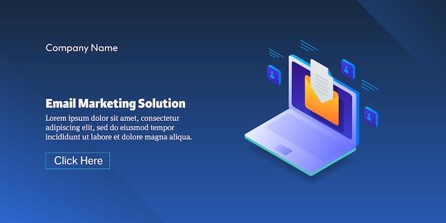 Banner de conceito de solução de marketing por e-mail