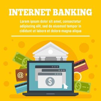 Banner de conceito do cartão de crédito internet banking