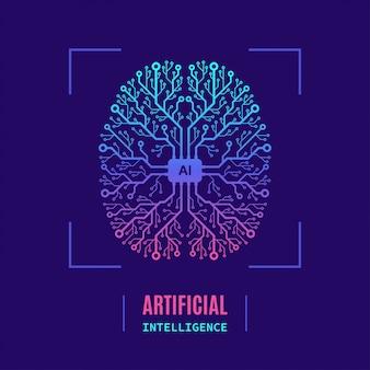 Banner de conceito inteligente artificial, design de estilo simples