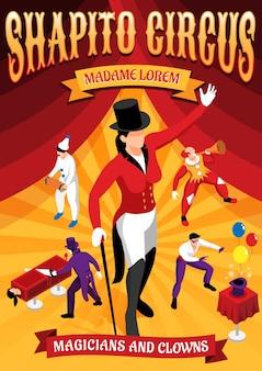 Banner de conceito isométrico de profissões de circo com mágicos e palhaços durante performance em vermelho amarelo