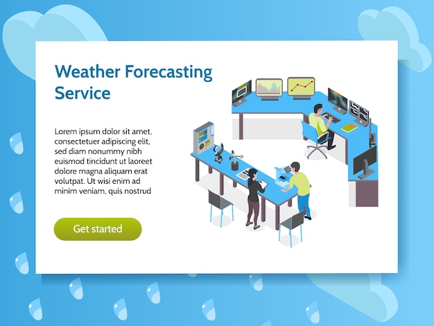 Banner de conceito isométrico meteorológico centro meteorológico com manchete de serviço de previsão do tempo e botão iniciar