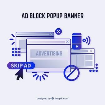 Banner de conceito pop de bloco de anúncios em estilo simples