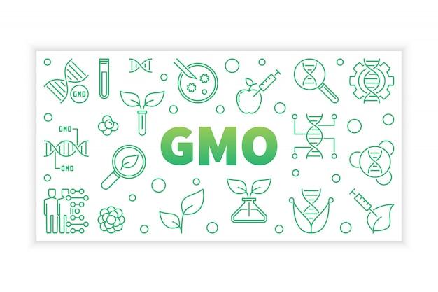 Banner de conceito verde de ogm em estilo de linha fina