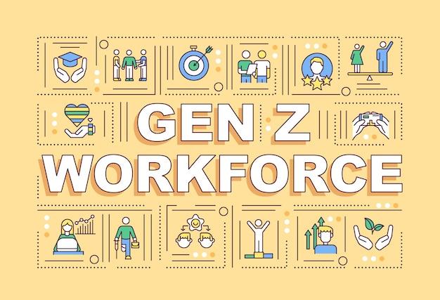 Banner de conceitos de força de trabalho da geração z
