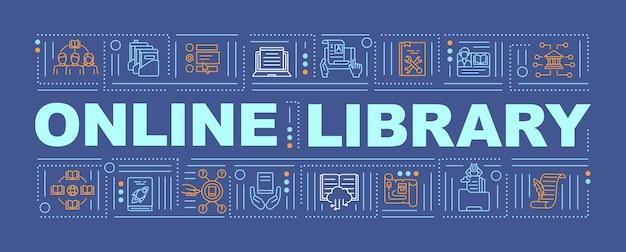 Banner de conceitos de palavra de benefícios de biblioteca online. forma contemporânea de obter informações. infográficos com linear em fundo laranja. tipografia isolada. delinear ilustração de cor rgb