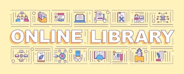 Banner de conceitos de palavras de benefícios de biblioteca online