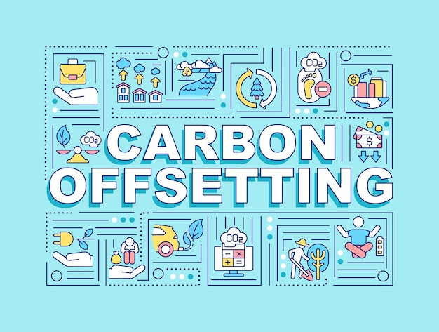 Banner de conceitos de palavras de compensação de carbono