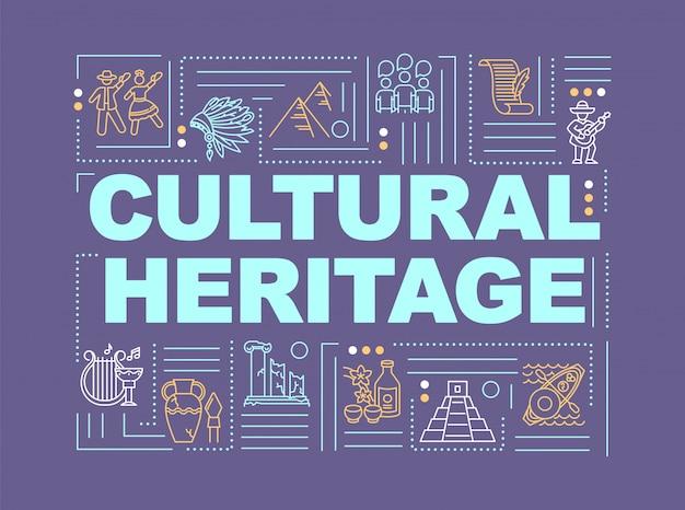 Banner de conceitos de palavras de cultura e história