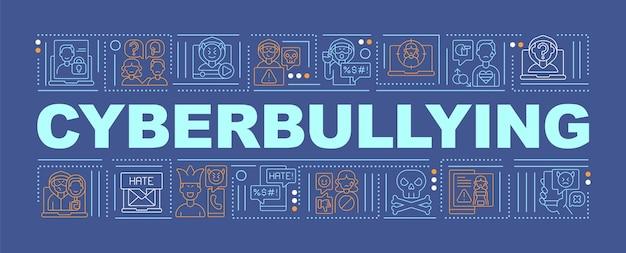 Banner de conceitos de palavras de cyberbullying