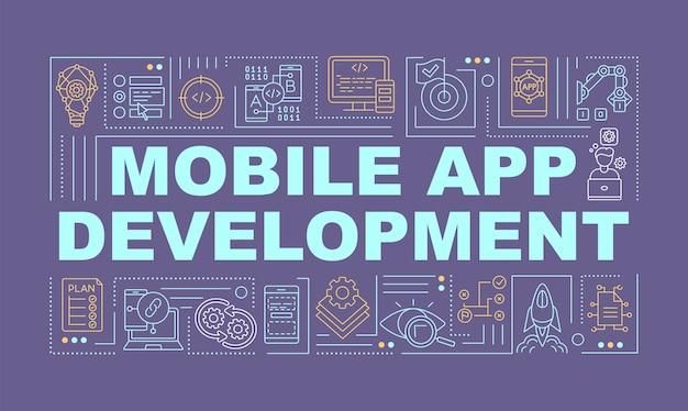 Banner de conceitos de palavras de desenvolvimento de aplicativos móveis