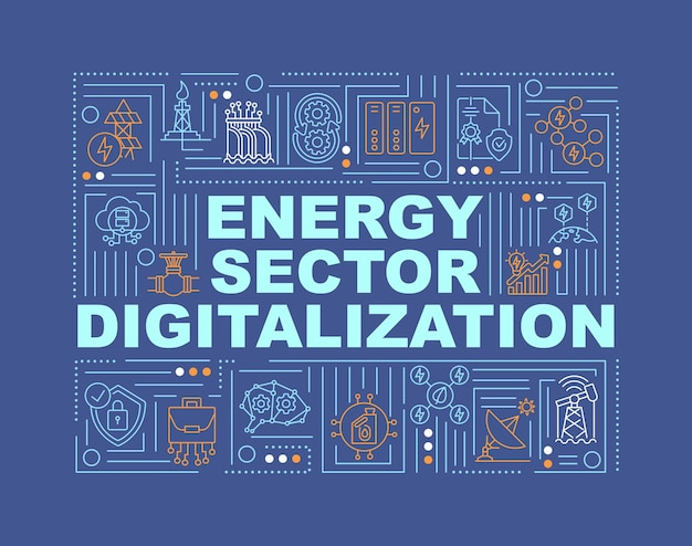 Banner de conceitos de palavras de digitalização do setor de energia