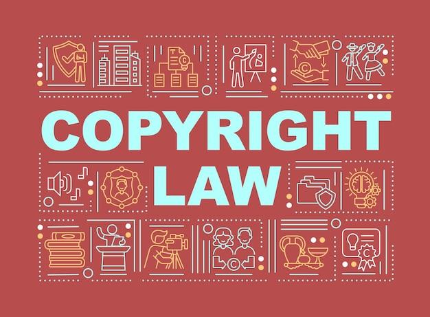 Banner de conceitos de palavras de leis de direitos autorais