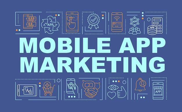 Banner de conceitos de palavras de marketing de aplicativos móveis