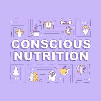 Banner de conceitos de palavras de nutrição consciente