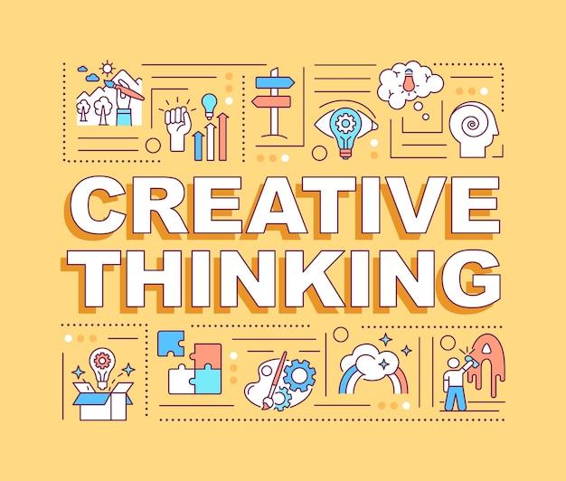 Banner de conceitos de palavras de pensamento criativo