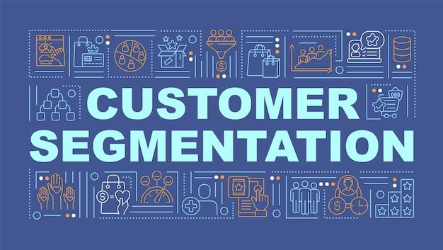 Banner de conceitos de palavras de segmentação de clientes