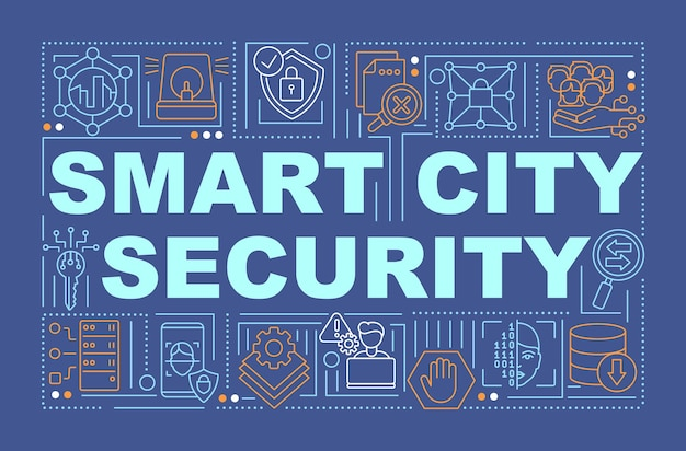 Banner de conceitos de palavras de segurança cibernética de cidade inteligente