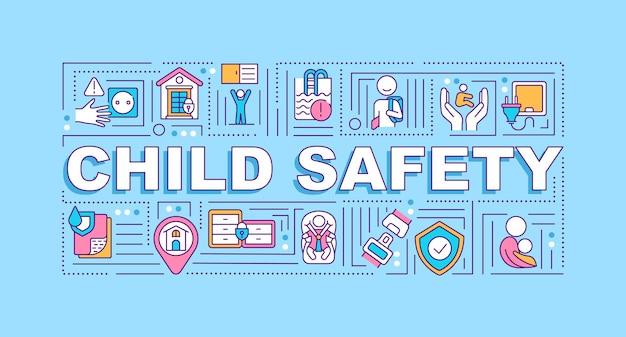 Banner de conceitos de palavras de segurança infantil