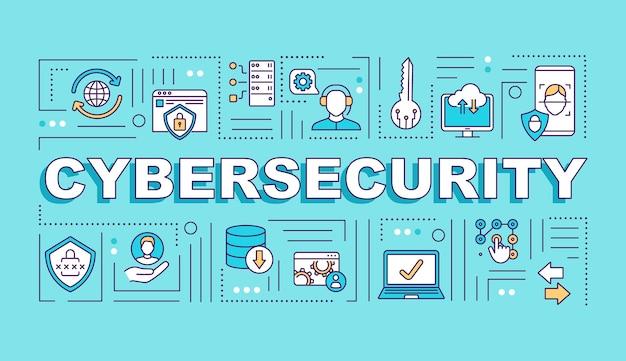 Banner de conceitos de palavras de sistema de segurança cibernética