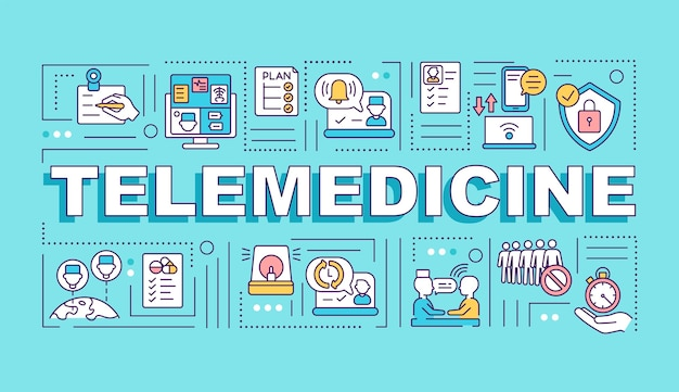 Banner de conceitos de palavras de telemedicina