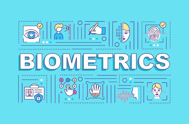 Banner de conceitos de palavras de tipos de biometria