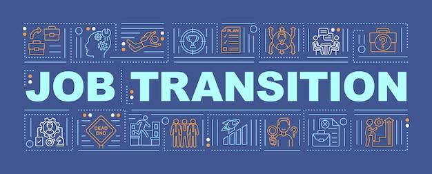 Banner de conceitos de palavras de transição de emprego