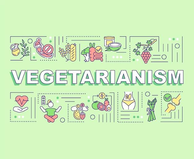Banner de conceitos de palavras de vegetarianismo