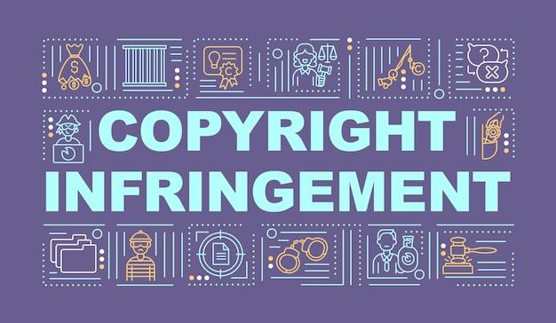 Banner de conceitos de palavras de violação de direitos autorais