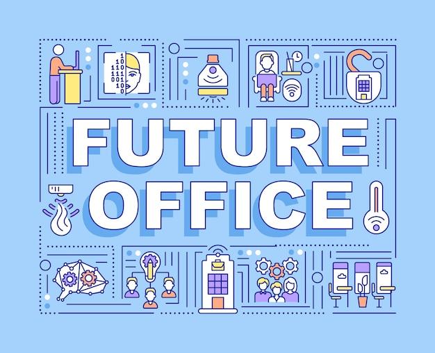 Banner de conceitos de palavras do futuro escritório