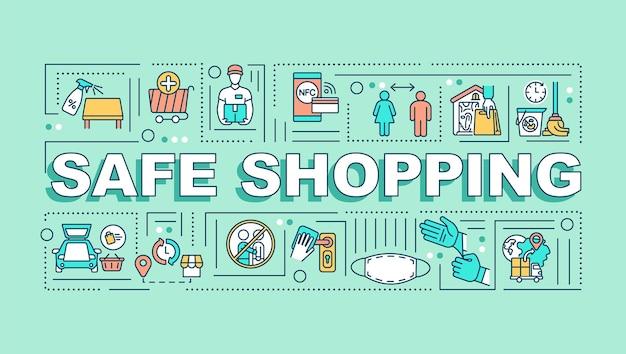 Banner de conceitos de palavras para compras seguras