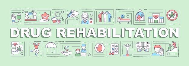 Banner de conceitos de palavras para reabilitação de drogas