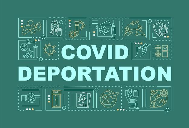 Banner de conceitos de palavras verdes de deportação covid