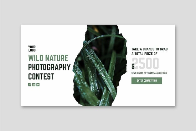 Banner de concurso de fotografia de natureza selvagem