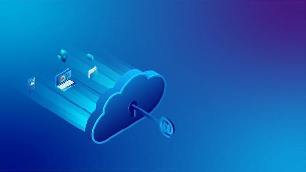 Banner de conexão do servidor de nuvem 3d