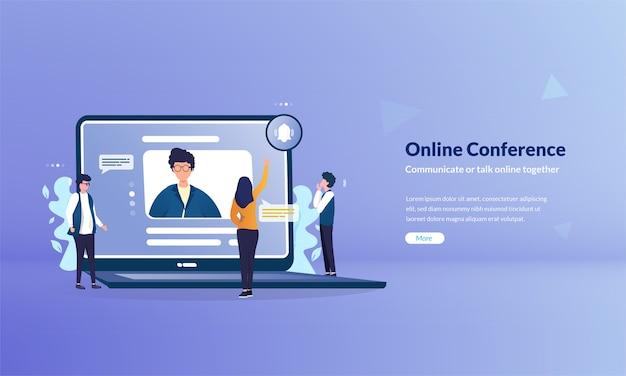 Banner de conferência online como conceito de mídia de comunicação moderna