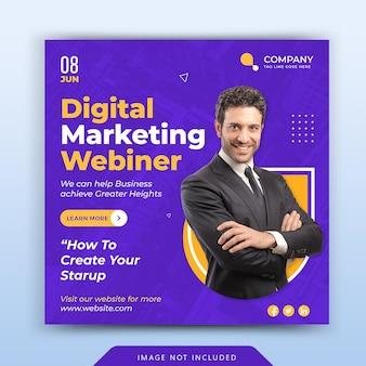 Banner de conferência webinar de negócios de marketing digital ou postagem em mídia social corporativa