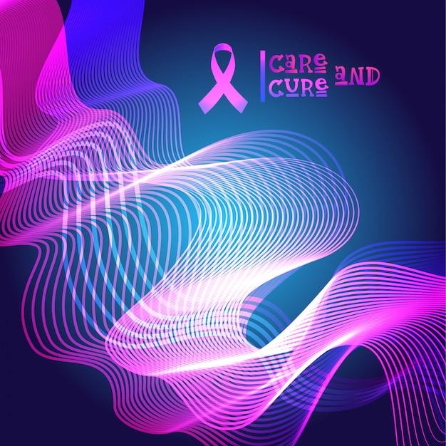 Banner de conscientização de câncer de mama fita rosa