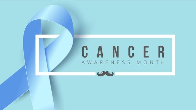 Banner de conscientização de câncer vertical com fita azul